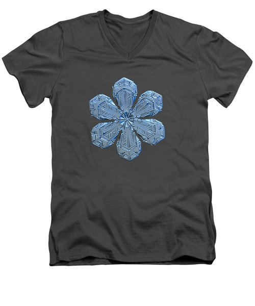 Men's V-Neck T-Shirt featuring the photograph Snowflake Photo - Forget-me-not by Alexey Kljatov