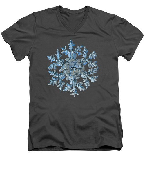 Men's V-Neck T-Shirt featuring the photograph Snowflake Photo - Gardener's Dream by Alexey Kljatov