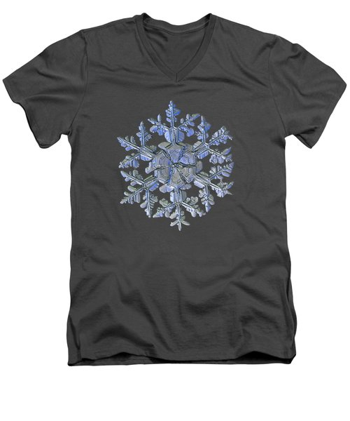 Men's V-Neck T-Shirt featuring the photograph Snowflake Photo - Gardener's Dream Alternate by Alexey Kljatov
