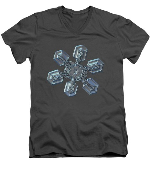 Men's V-Neck T-Shirt featuring the photograph Snowflake Photo - High Voltage by Alexey Kljatov