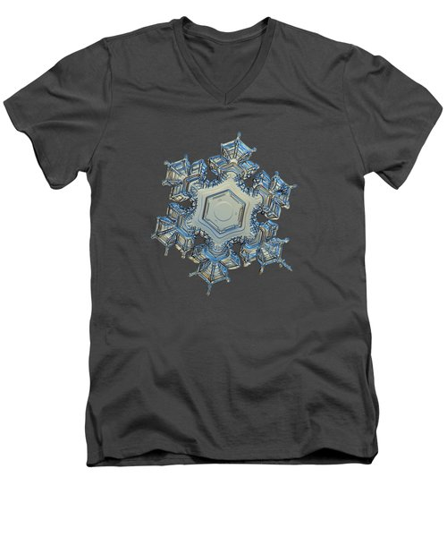 Men's V-Neck T-Shirt featuring the photograph Snowflake Photo - Iron Crown by Alexey Kljatov