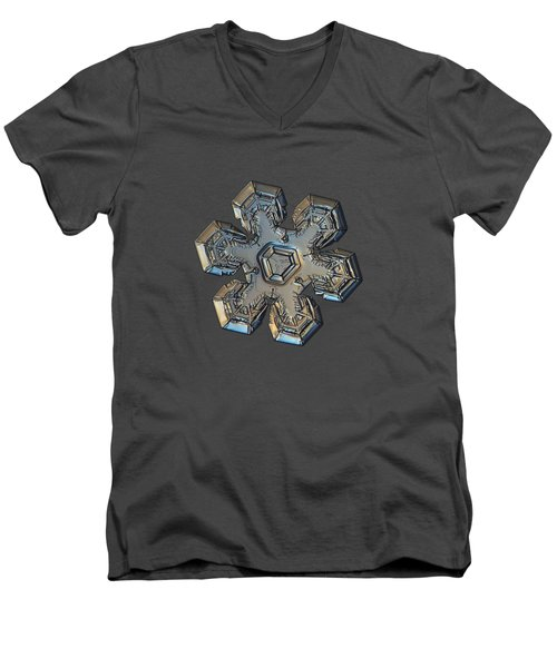 Men's V-Neck T-Shirt featuring the photograph Snowflake Photo - Massive Gold by Alexey Kljatov