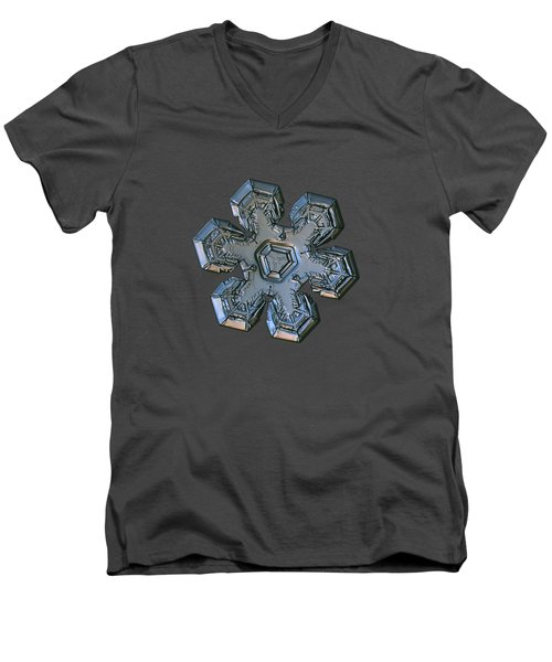 Men's V-Neck T-Shirt featuring the photograph Snowflake Photo - Massive Silver by Alexey Kljatov