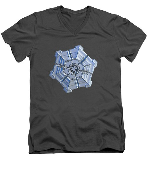 Men's V-Neck T-Shirt featuring the photograph Snowflake Photo - Winter Fortress by Alexey Kljatov