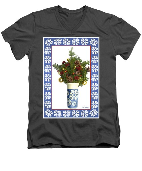 Snowflake Vase With Christmas Regalia Men's V-Neck T-Shirt by Lise Winne