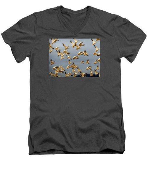 Men's V-Neck T-Shirt featuring the photograph Snowgeese In Flight 2 by Karen Molenaar Terrell