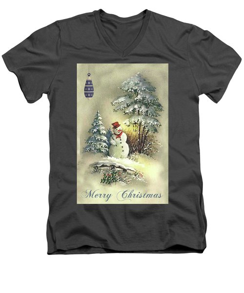 Men's V-Neck T-Shirt featuring the digital art Snowman Christmas Card by Greg Sharpe
