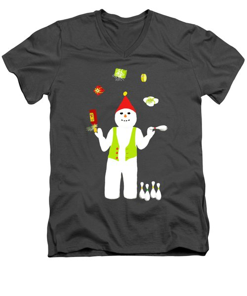 Snowman Juggler Men's V-Neck T-Shirt