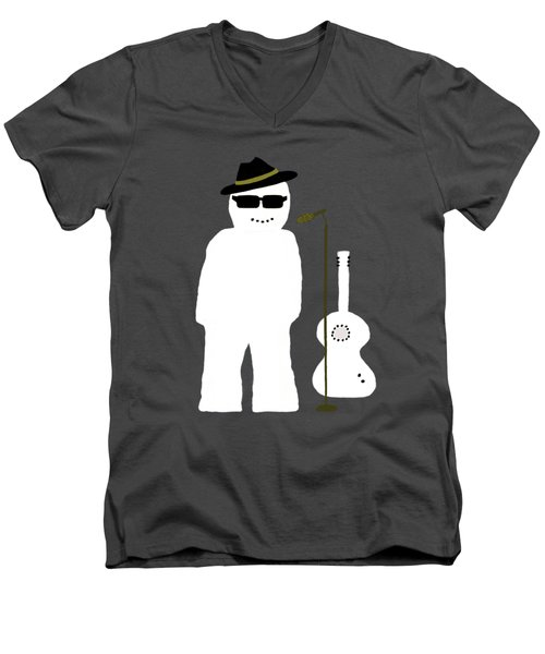 Snowman Musician Men's V-Neck T-Shirt