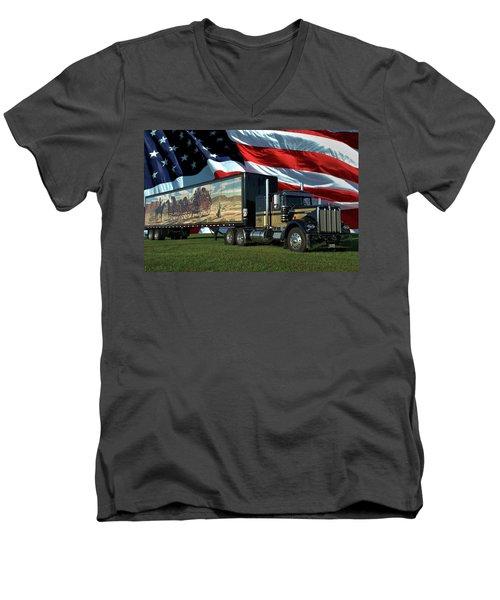 Snowmans Dream Semi Truck Men's V-Neck T-Shirt