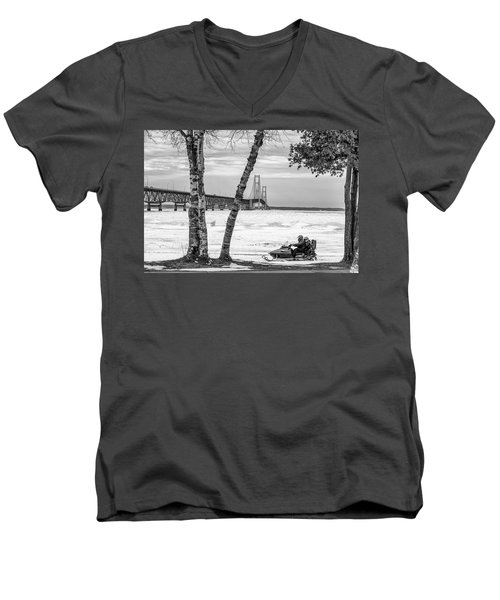 Men's V-Neck T-Shirt featuring the photograph Snowmobile Michigan Black And White  by John McGraw