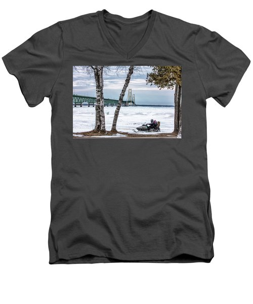 Men's V-Neck T-Shirt featuring the photograph Snowmobile Michigan  by John McGraw