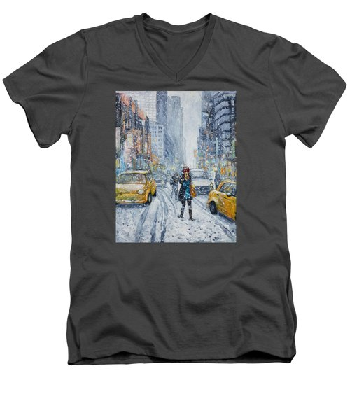 Urban Snowstorm Men's V-Neck T-Shirt