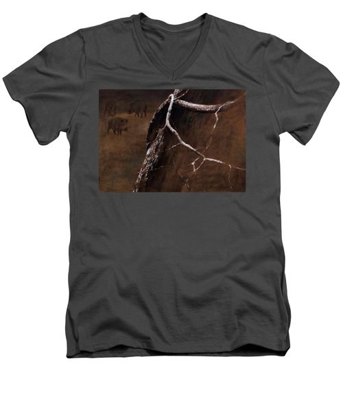 Snowy Branch With Wild Boars Men's V-Neck T-Shirt