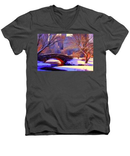 Snowy Central Park Men's V-Neck T-Shirt