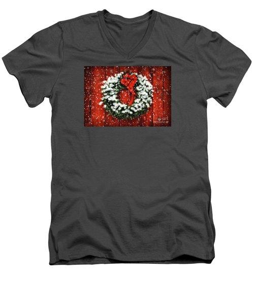 Snowy Christmas Wreath Men's V-Neck T-Shirt by Lois Bryan