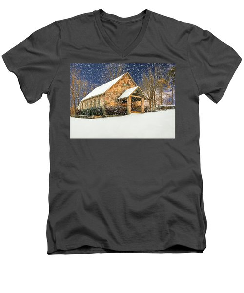 Snowy Cloudland Presbyterian Church  Men's V-Neck T-Shirt