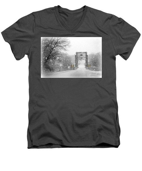 Snowy Day And One Lane Bridge Men's V-Neck T-Shirt by Kathy M Krause