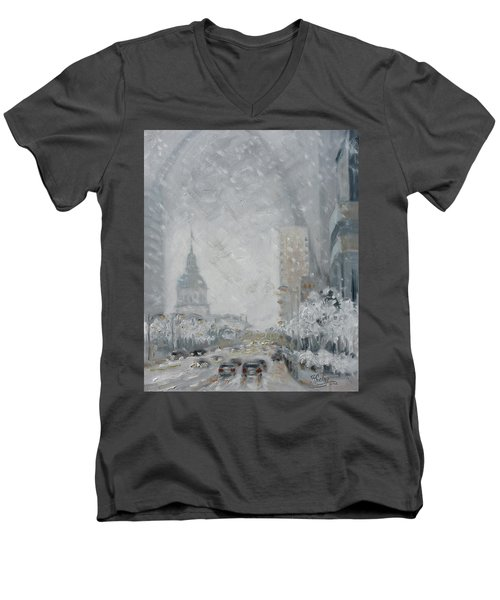 Snowy Day - Market Street Saint Louis Men's V-Neck T-Shirt
