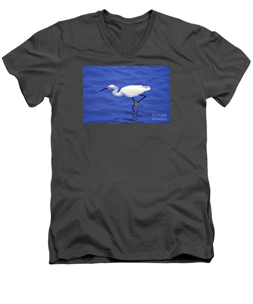 Men's V-Neck T-Shirt featuring the photograph Snowy Egret 1 by Bill Holkham