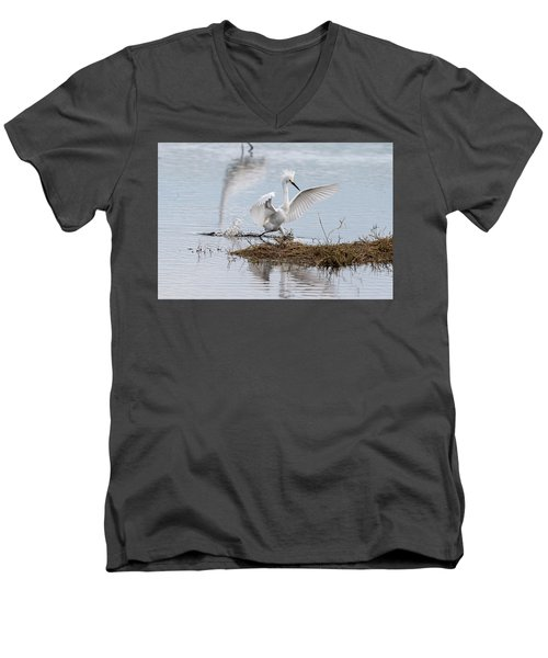 Snowy Egret Chasing His Dinner Men's V-Neck T-Shirt
