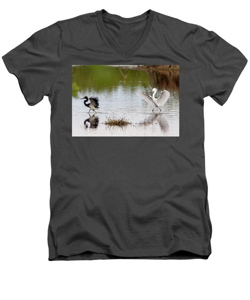 Snowy Egret Chasing Other Bird Out Of Feeding Area Men's V-Neck T-Shirt