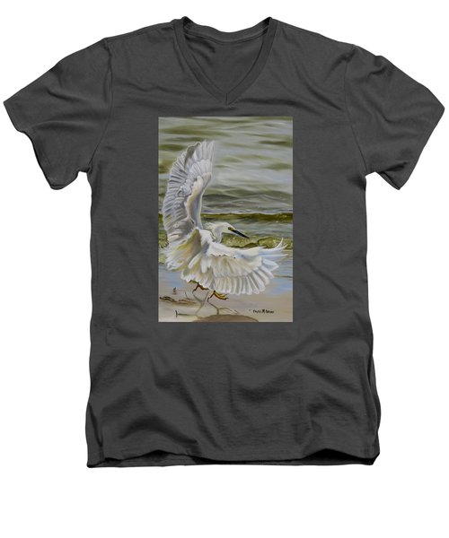 Men's V-Neck T-Shirt featuring the painting Snowy Egret Landing On The Shore by Phyllis Beiser
