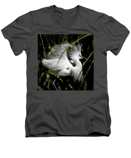 Men's V-Neck T-Shirt featuring the photograph Snowy Egret by Steven Sparks