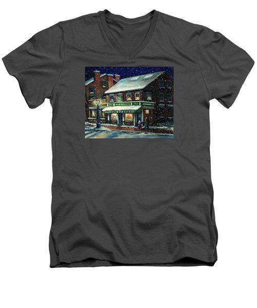 Snowy Evening In Gloucester, Ma Men's V-Neck T-Shirt