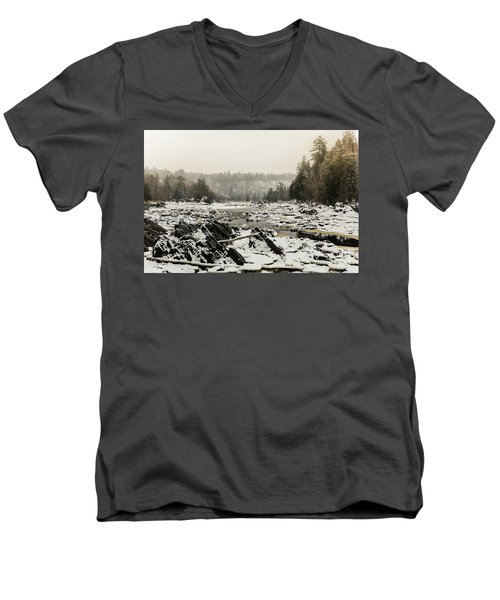 Snowy Morning At Jay Cooke Men's V-Neck T-Shirt