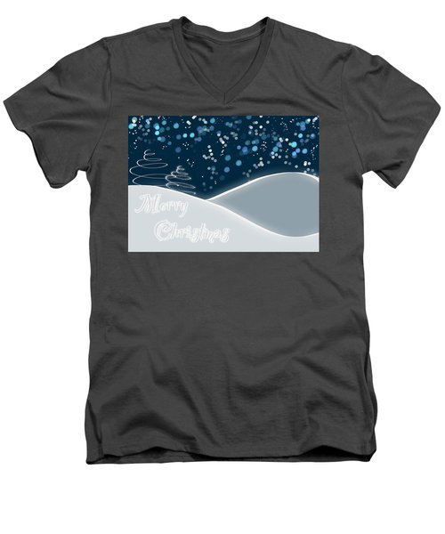Snowy Night Christmas Card Men's V-Neck T-Shirt