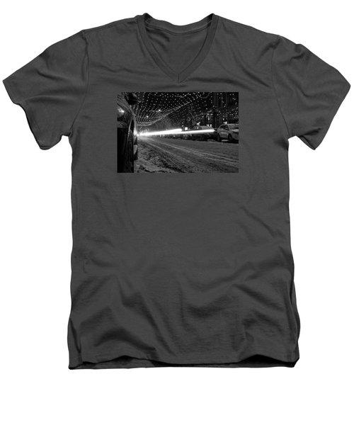 Snowy Night Light Trails Men's V-Neck T-Shirt