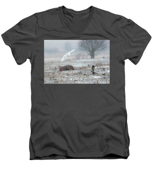 Snowy Owl In Flight 3 Men's V-Neck T-Shirt