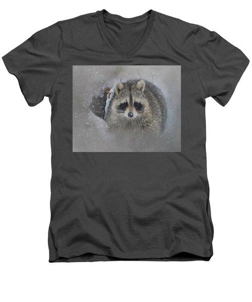 Snowy Raccoon Men's V-Neck T-Shirt