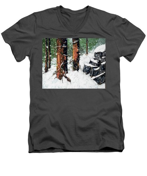 Snowy Redwood Dream Men's V-Neck T-Shirt