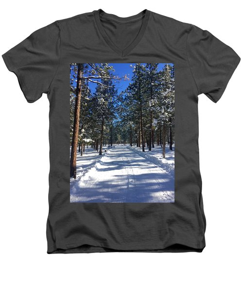 Snowy Road Men's V-Neck T-Shirt
