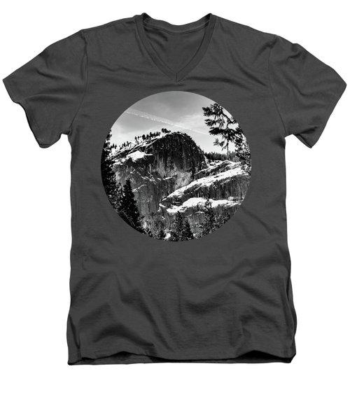 Snowy Sentinel, Black And White Men's V-Neck T-Shirt by Adam Morsa