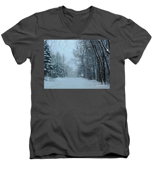 Men's V-Neck T-Shirt featuring the photograph Snowy Street by Rockin Docks Deluxephotos
