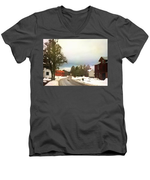 Snowy Street With Red House Men's V-Neck T-Shirt