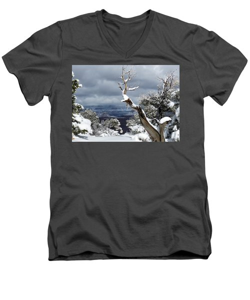 Men's V-Neck T-Shirt featuring the photograph Snowy View by Laurel Powell