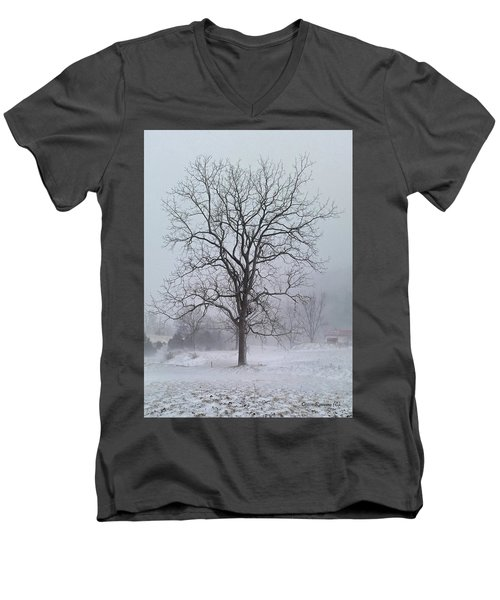 Men's V-Neck T-Shirt featuring the photograph Snowy Walnut by Denise Romano