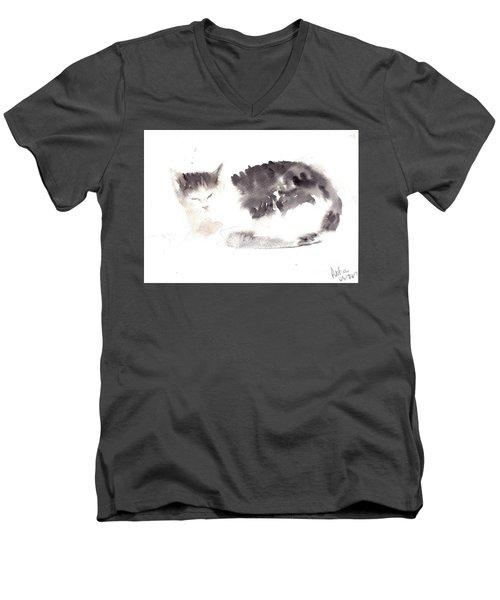 Snuggling Cat Men's V-Neck T-Shirt