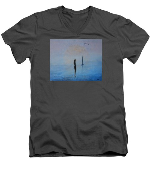 Men's V-Neck T-Shirt featuring the painting So Close by Jane See