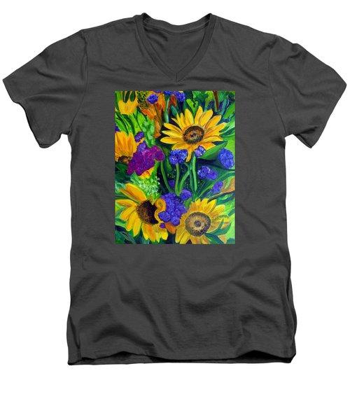 Sunflowers -soaking Up Sunshine Men's V-Neck T-Shirt