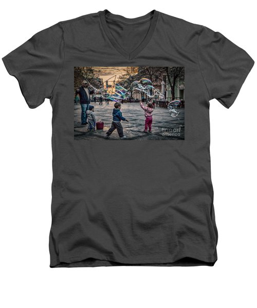 Men's V-Neck T-Shirt featuring the photograph Soap Bubbles Evening Play by Jivko Nakev