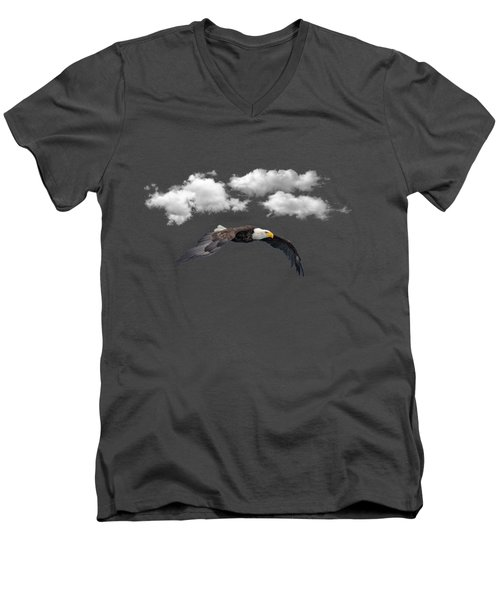 Men's V-Neck T-Shirt featuring the photograph Soaring Among The Clouds by David Dehner