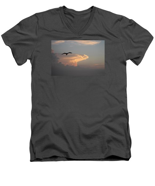 Men's V-Neck T-Shirt featuring the photograph Soaring Over The Clouds by Robert Banach