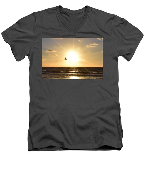 Soaring Seagull Sunset Over Imperial Beach Men's V-Neck T-Shirt