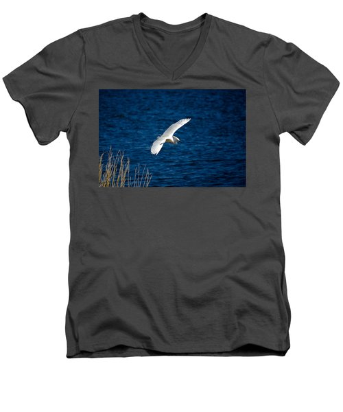 Soaring Snowy Egret  Men's V-Neck T-Shirt by DigiArt Diaries by Vicky B Fuller