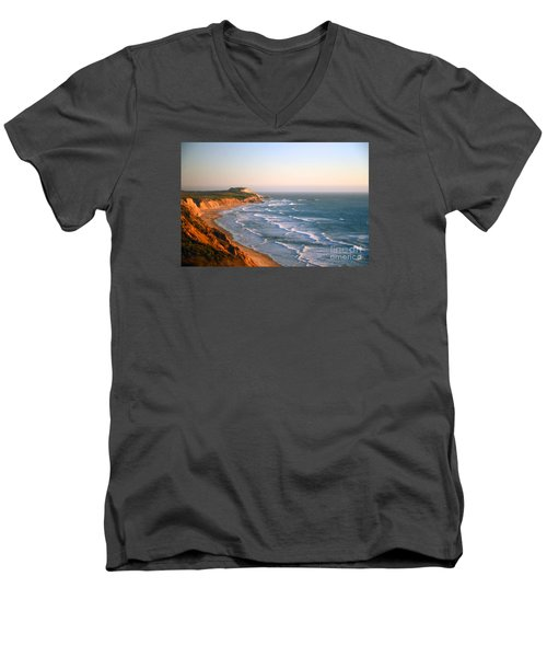 Men's V-Neck T-Shirt featuring the photograph Socal Sunset Ocean Front by Clayton Bruster